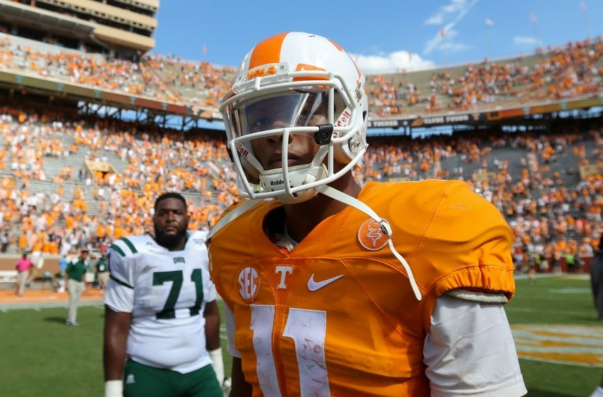 Sep 17, 2016; Knoxville, TN, USA; Tennessee Volunteers quarterback Joshua Dobbs (11) reacts after the game against the Ohio Bobcats at Neyland Stadium. Tennessee won 28-19. Mandatory Credit: Randy Sartin-USA TODAY Sports