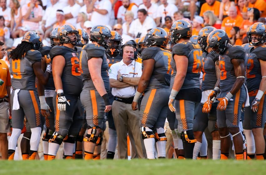 Sep 24, 2016; Knoxville, TN, USA; Tennessee Volunteers head coach Butch Jones during the second half against the Florida Gators at Neyland Stadium. Tennessee won 38-28. Mandatory Credit: Randy Sartin-USA TODAY Sports