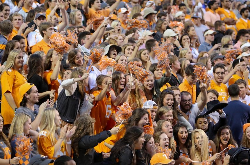 Oct 10, 2015; Knoxville, TN, USA; Tennessee Volunteers fans during the second half against the Georgia Bulldogs at Neyland Stadium. Tennessee won 38 to 31. Mandatory Credit: Randy Sartin-USA TODAY Sports
