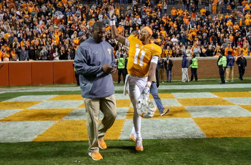 Nov 19, 2016; Knoxville, TN, USA; Tennessee Volunteers quarterback Joshua Dobbs (11) after the game against the Missouri Tigers at Neyland Stadium. Tennessee won 63 to 37. Mandatory Credit: Randy Sartin-USA TODAY Sports