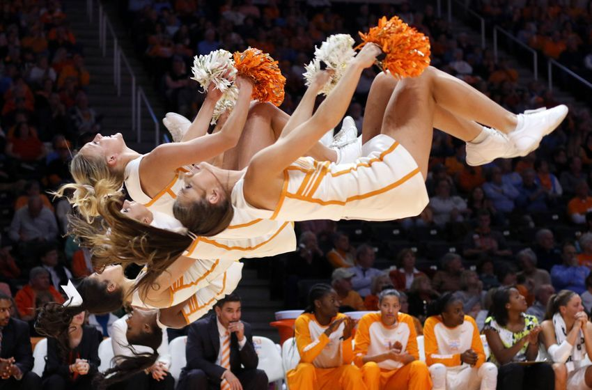 Jan 6, 2016; Knoxville, TN, USA; the Tennessee Lady Volunteers cheerleaders perform during the second quarter against the Florida Gators at Thompson-Boling Arena. Florida won 74 to 66. Mandatory Credit: Randy Sartin-USA TODAY Sports