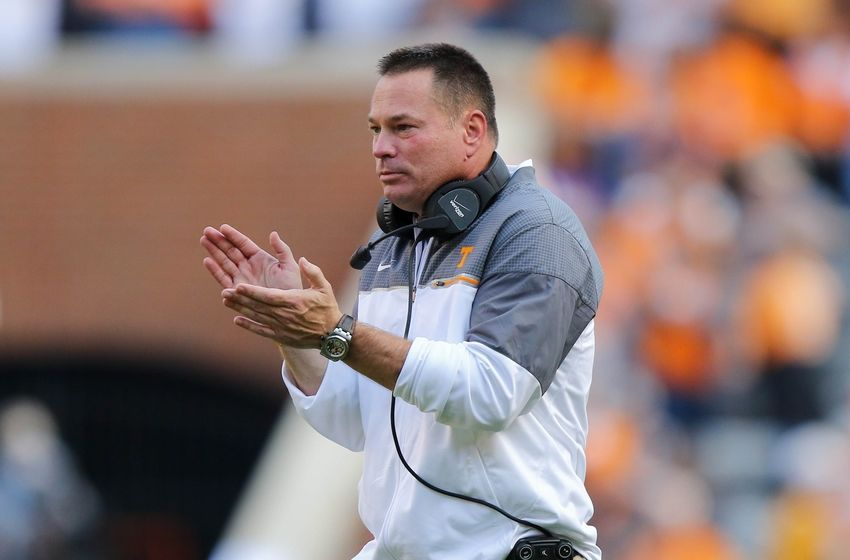 Nov 5, 2016; Knoxville, TN, USA;  Tennessee Volunteers head coach Butch Jones during the first quarter against the Tennessee Tech Golden Eagles at Neyland Stadium. Mandatory Credit: Randy Sartin-USA TODAY Sports