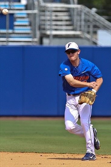 June 10, 2012; Gainesville, FL, USA; Florida Gators second baseman Casey Turgeon throws to first base at McKethan Stadium. Mandatory Credit: ©Rob Foldy-USA TODAY Sports