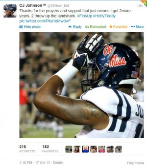 CJ Johnson tweeted thanks to his supporters Thursday.