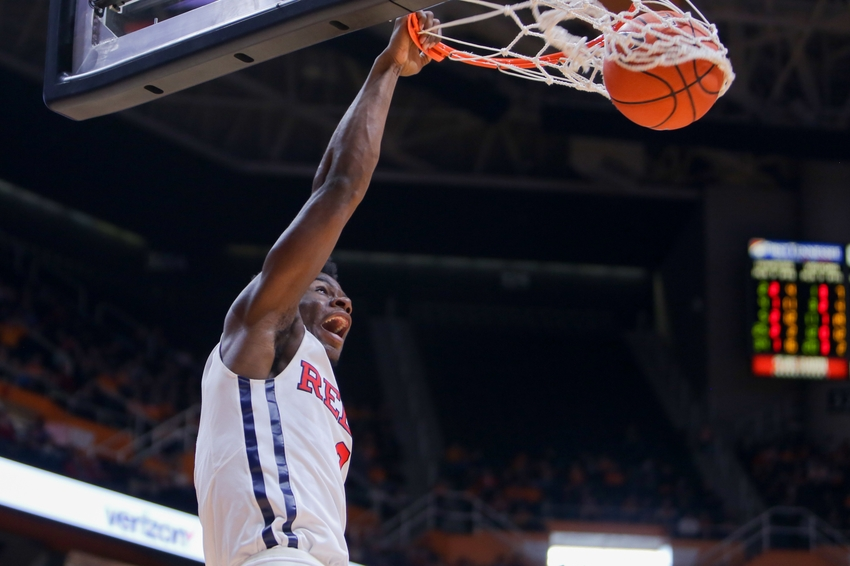 Mar 5, 2016; Knoxville, TN, USA; Mississippi Rebels guard Terence Davis (3) dunks the ball against the Tennessee Volunteers during the second half at Thompson-Boling Arena. The Rebels won 83 to 60. Mandatory Credit: Randy Sartin-USA TODAY Sports