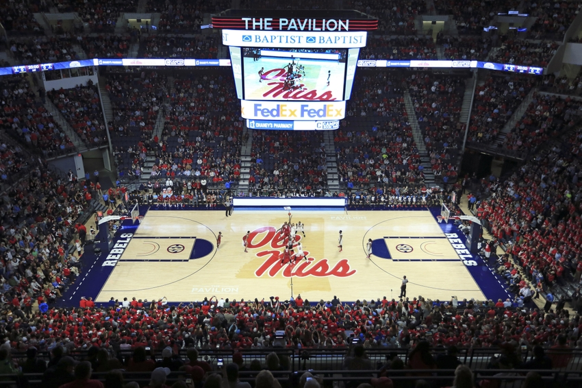 Jan 7, 2016; Oxford, MS, USA;  Opening tip off between the Mississippi Rebels and the Alabama Crimson Tide at The Pavilion at Ole Miss.  Mississippi Rebels defeat the Alabama Crimson Tide 74-66.  Mandatory Credit: Spruce Derden-USA TODAY Sports