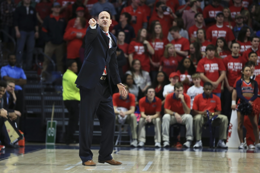 Feb 6, 2016; Oxford, MS, USA; Mississippi Rebels head coach Andy Kennedy during the first half against the Vanderbilt Commodores at The Pavilion at Ole Miss. Mandatory Credit: Spruce Derden-USA TODAY Sports
