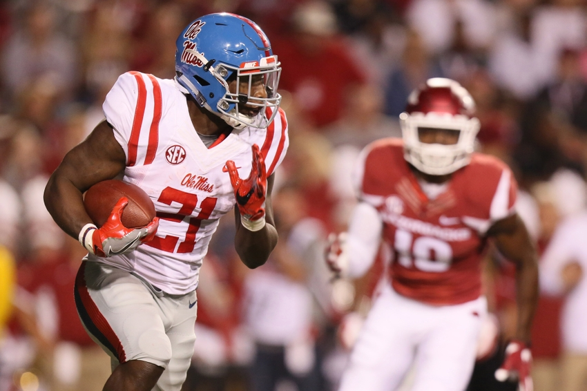 Oct 15, 2016; Fayetteville, AR, USA; Ole Miss Rebels running back Akeem Judd (21) rushes in the second quarter against the Arkansas Razorbacks at Donald W. Reynolds Razorback Stadium. Mandatory Credit: Nelson Chenault-USA TODAY Sports