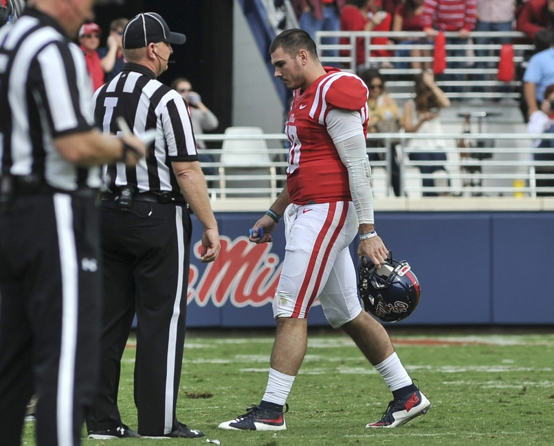 Nov 5, 2016; Oxford, MS, USA; Mississippi Rebels quarterback Chad Kelly (10) walks off the field during the second half against Georgia Southern Eagles at Vaught-Hemingway Stadium. Mandatory Credit: Justin Ford-USA TODAY Sports