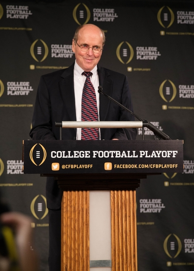 Oct 16, 2013; Irving, TX, USA; College Football Playoff executive director Bill Hancock speaks to the media at the College Football Playoff Headquarters. Mandatory Credit: Kevin Jairaj-USA TODAY Sports