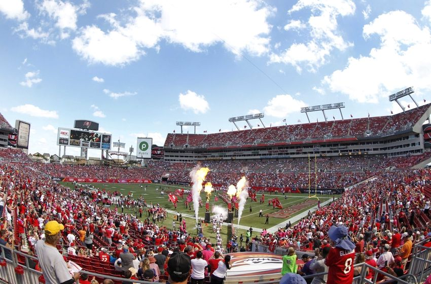 Oct 12, 2014; Tampa, FL, USA; An general view of Raymond James Stadium