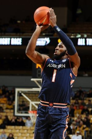 Mar 3, 2015; Columbia, MO, USA; Auburn Tigers guard KT Harrell (1) goes for a three point basket over Missouri Tigers during the first half at Mizzou Arena. Mandatory Credit: Dak Dillon-USA TODAY Sports
