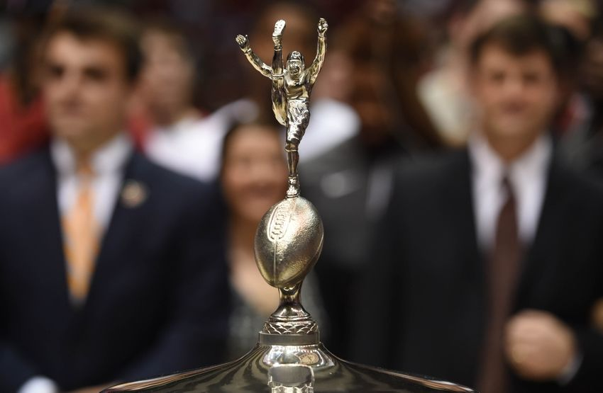 Feb 27, 2016; Tuscaloosa, AL, USA; View of the trophy as Alabama Crimson Tide football head coach Nick Saban and his team accept it during halftime against the Auburn Tigers at Coleman Coliseum. Mandatory Credit: Shanna Lockwood-USA TODAY Sports