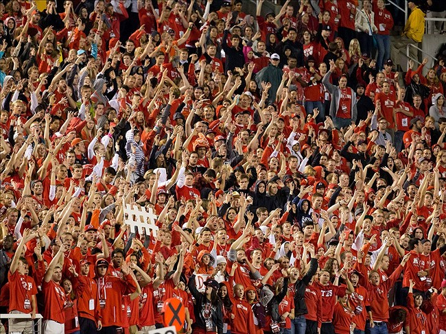 Sep 14, 2013; Salt Lake City, UT, USA; Utah Utes fans during the first half against the Oregon State Beavers at Rice-Eccles Stadium. Mandatory Credit: Russ Isabella-USA TODAY Sports