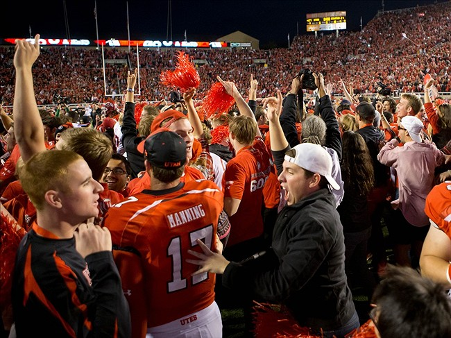 Oct 12, 2013 Salt Lake City, UT, USA; Utah Utes fans and players celebrate a 27-21 victory over the Stanford Cardinal at Rice-Eccles Stadium. Mandatory Credit: Russ Isabella-USA TODAY Sports