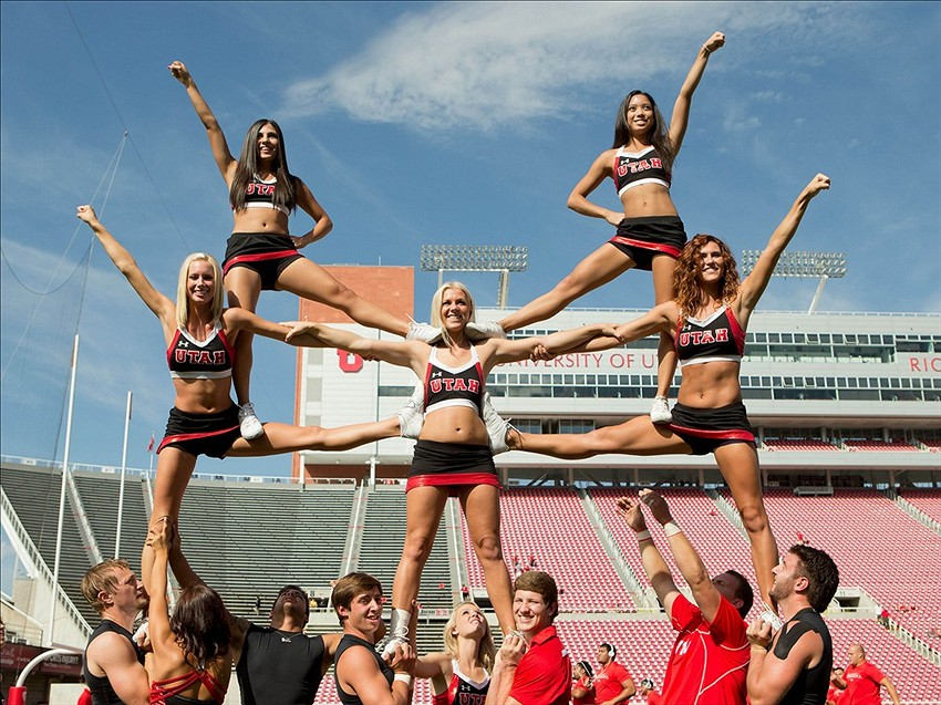 Sep 7, 2013 Salt Lake City, UT, USA; Utah Utes cheerleaders warm up prior to a game against the Weber State Wildcats at Rice-Eccles Stadium. Mandatory Credit: Russ Isabella-USA TODAY Sports