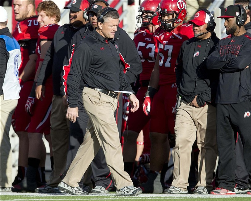 Nov 30, 2013; Salt Lake City, UT, USA; Utah Utes head coach Kyle Whittingham paces the sideline during the second half against the Colorado Buffaloes at Rice-Eccles Stadium. Utah won 24-17. Mandatory Credit: Russ Isabella-USA TODAY Sports
