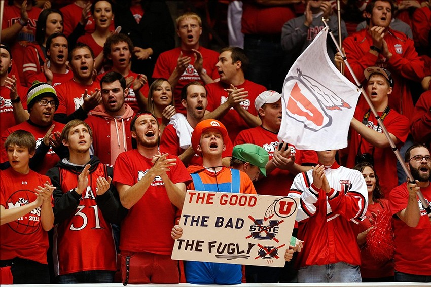 Dec 14, 2013 Salt Lake City, UT, USA; Utah Utes fans before the game against the Brigham Young Cougars at Jon M. Huntsman Center. Mandatory Credit: Chris Nicoll-USA TODAY Sports