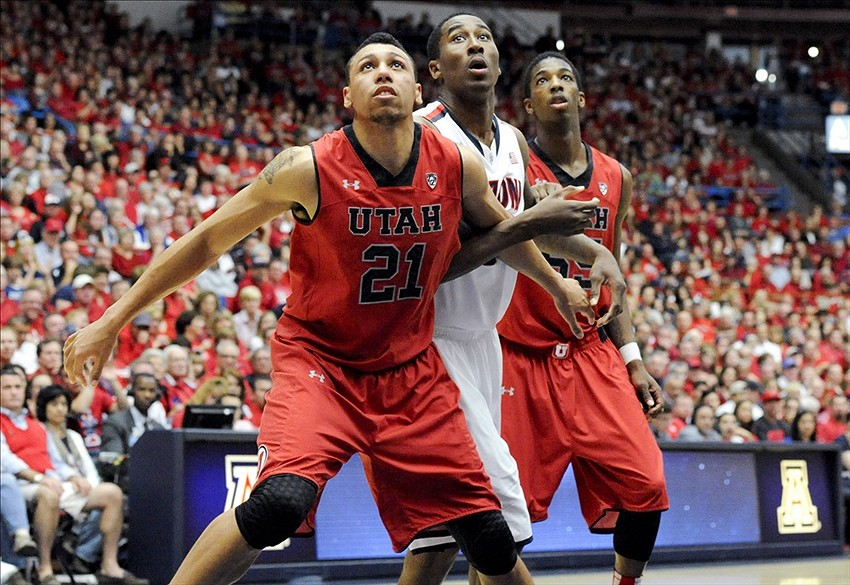Jan 26, 2014; Tucson, AZ, USA Utah Utes forward Jordan Loveridge (21) and guard Delon Wright (55) and Arizona Wildcats forward Rondae Hollis-Jefferson (23) battle for positioning during the second half at McKale Center. Arizona won 65-56. Mandatory Credit: Casey Sapio-USA TODAY Sports