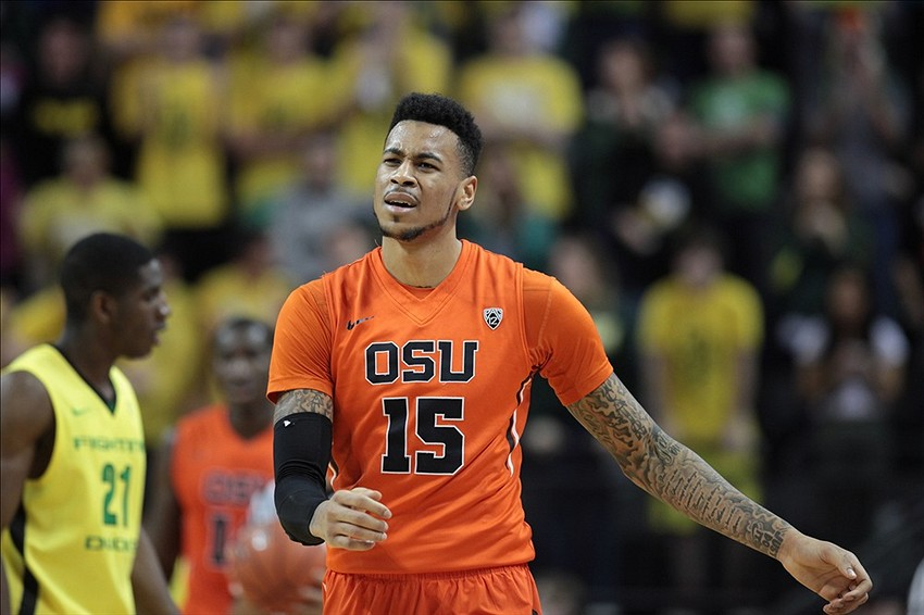 Feb 16, 2014; Eugene, OR, USA Oregon State Beavers forward Eric Moreland (15) reacts to a foul in the second half against the Oregon Ducks at Matthew Knight Arena. Mandatory Credit: Scott Olmos-USA TODAY Sports