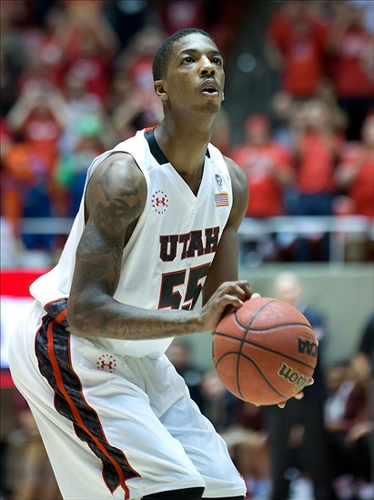 Feb 23, 2014; Salt Lake City, UT, USA; Utah Utes guard Delon Wright (55) prepares to shoot a free throw during the second half against the Arizona State Sun Devils at Jon M. Huntsman Center. Utah won 86-63. Mandatory Credit: Russ Isabella-USA TODAY Sports