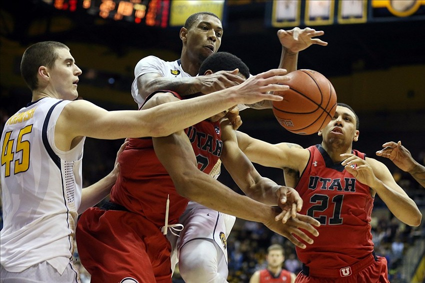 Mar 5, 2014; Berkeley, CA, USA; Utah Utes guard/forward Princeton Onwas (3) and forward Jordan Loveridge (21) battle for a rebound ahead of California Golden Bears forward David Kravish (45) and forward Richard Solomon (35) during the second half at Haas Pavilion. The Utah Utes defeated the California Golden Bears 63-59. Mandatory Credit: Kelley L Cox-USA TODAY Sports