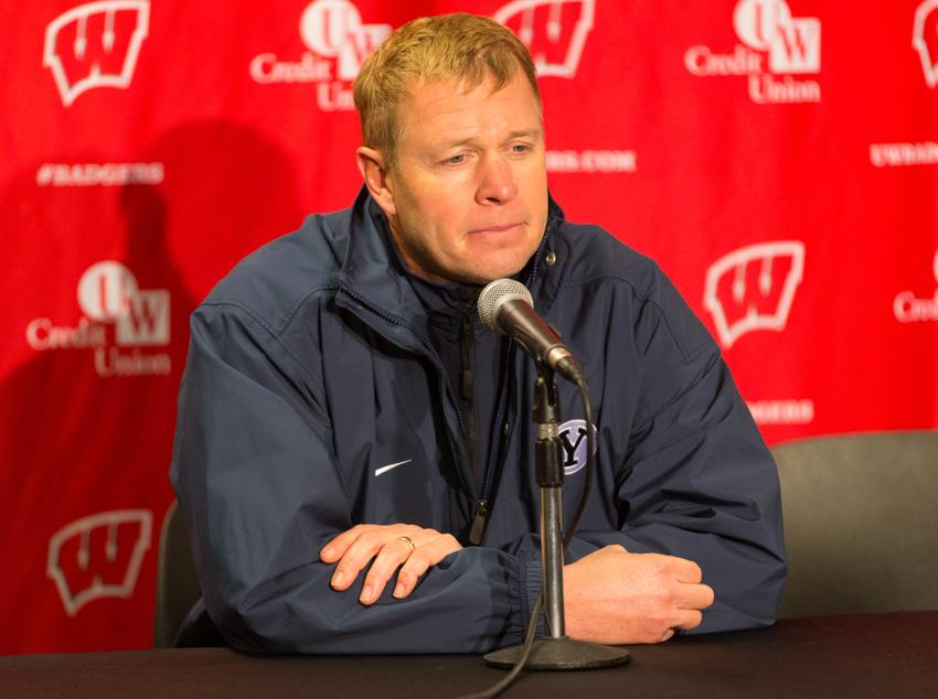Nov 9, 2013; Madison, WI, USA; Brigham Young Cougars head coach Bronco Mendenhall answers questions during the post game press conference following the game against the Wisconsin Badgers at Camp Randall Stadium. Wisconsin won 27-17. Mandatory Credit: Jeff Hanisch-USA TODAY Sports
