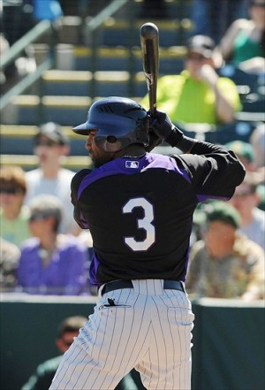 Taveras at the plate for the Rockies in spring training circa 2011. (Photo Credit: Christopher Hanewinckel-USA TODAY Sports)