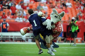 KC Wolf performs before a game. (Photo Credit: John Rieger-USA TODAY Sports)