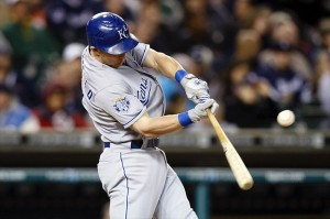 September 24, 2012; Detroit, MI, USA; Kansas City Royals second baseman Johnny Giavotella (9) hits a single during the fifth inning against the Detroit Tigers at Comerica Park. Mandatory Credit: Rick Osentoski-USA TODAY Sports