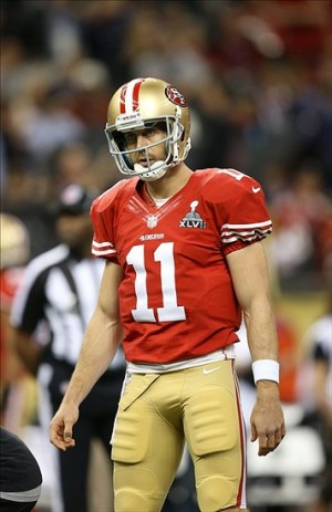 Feb 3, 2013; New Orleans, LA, USA; San Francisco 49ers quarterback Alex Smith before Super Bowl XLVII against the Baltimore Ravens at the Mercedes-Benz Superdome. Mandatory Credit: Mark J. Rebilas-USA TODAY Sports
