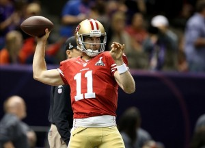 Feb 3, 2013; New Orleans, LA, USA; San Francisco 49ers quarterback Alex Smith (11) warms up against the Baltimore Ravens in Super Bowl XLVII at the Mercedes-Benz Superdome. Mandatory Credit: Mark J. Rebilas-USA TODAY Sports