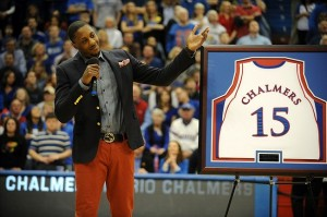 Feb 16, 2013; Lawrence, KS, USA; Former Kansas Jayhawks guard Mario Chalmers talks to the crowd as his jersey is retired during halftime of the game against the Texas Longhorns at Allen Fieldhouse. Mandatory Credit: John Rieger-USA TODAY Sports
