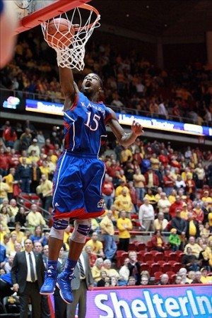 Feb 25, 2013; Ames IA, USA; Kansas Jayhawks player Elijah Johnson (15) scores two points in the second half against the Iowa State Cyclones at Hilton Coliseum. Kansas beat Iowa State 108-96. Mandatory Credit: Reese Strickland-USA TODAY Sports