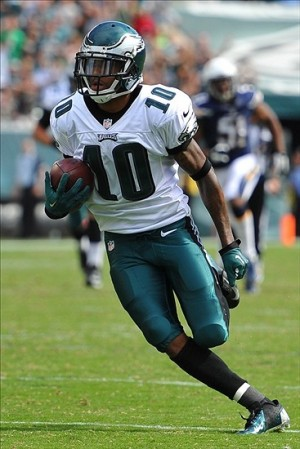 Sep 15, 2013; Philadelphia, PA, USA; Philadelphia Eagles wide receiver DeSean Jackson (10) runs after the catch against the San Diego Chargers during the third quarter at Lincoln Financial Field. Mandatory Credit: Jeffrey G. Pittenger-USA TODAY Sports