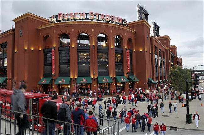 Oct 19, 2012; St. Louis, MO, USA; Fans enter Busch Stadium prior to game five of the 2012 NLCS between the St. Louis Cardinals and the San Francisco Giants. Mandatory Credit: Jeff Curry-USA TODAY Sports