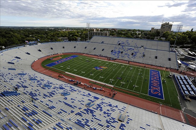 Oct 5, 2013; Lawrence, KS, USA; A general view of Memorial Stadium before the game between the Texas Tech Red Raiders and Kansas Jayhawks. Mandatory Credit: John Rieger-USA TODAY Sports