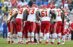 Oct 6, 2013; Nashville, TN, USA; The Kansas City Chiefs offensive squad huddles in a game against the Tennessee Titans during the second half at LP Field. The Chiefs beat the Titans 26-17. Mandatory Credit: Don McPeak-USA TODAY Sports