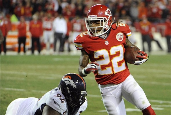 Kansas City Chiefs wide receiver Dexter McCluster (22) gets past Denver Broncos defensive tackle Terrance Knighton (94) in the second half at Arrowhead Stadium. Denver won the game 35-28. (John Rieger, USA TODAY Sports)