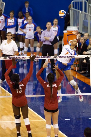 Gabby Mallette goes up for the kill for the Florida Gators. Photograph by Matt Pendleton.