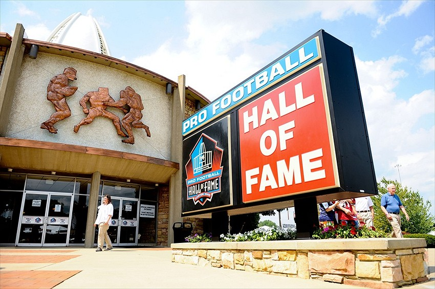 Aug 4, 2012; Canton, OH, USA; A general view of the entrance at the Pro Football Hall of Fame before the 2012 enshrinement at Fawcett Stadium. Mandatory Credit: Tim Fuller-USA TODAY Sports