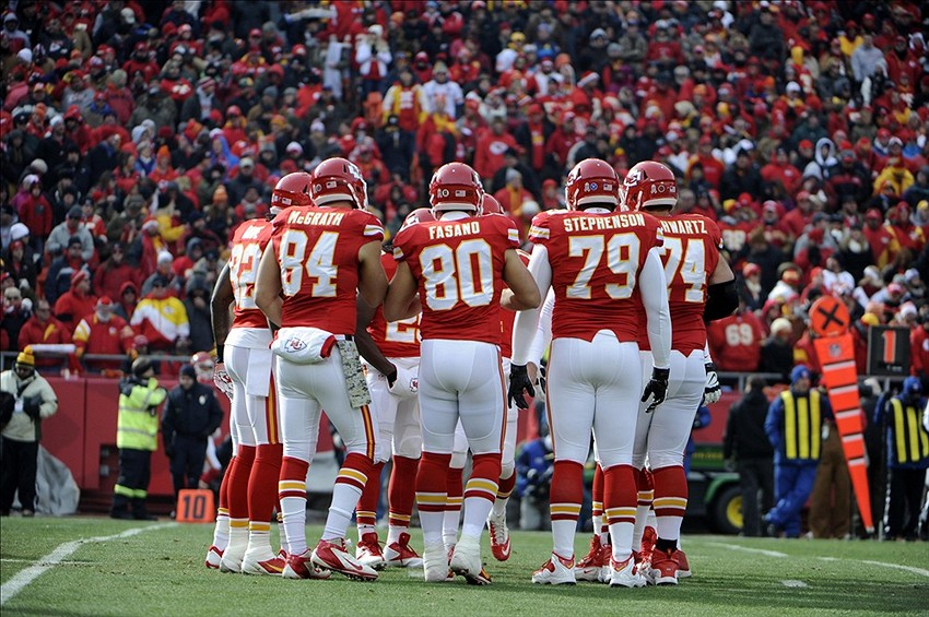 Nov 24, 2013; Kansas City, MO, USA; Kansas City Chiefs players huddle against the San Diego Chargers in the first half at Arrowhead Stadium. San Diego won 41-38. Mandatory Credit: John Rieger-USA TODAY Sports