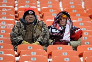 Dec 22, 2013; Kansas City, MO, USA; Fans try to stay warm before the game between the Indianapolis Colts and the Kansas City Chiefs at Arrowhead Stadium. Mandatory Credit: John Rieger-USA TODAY Sports