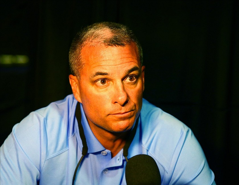 Feb 18, 2014; Phoenix, AZ, USA; Kansas City Royals general manager Dayton Moore speaks to the media during MLB media day at Chase Field. Mandatory Credit: Mark J. Rebilas-USA TODAY Sports
