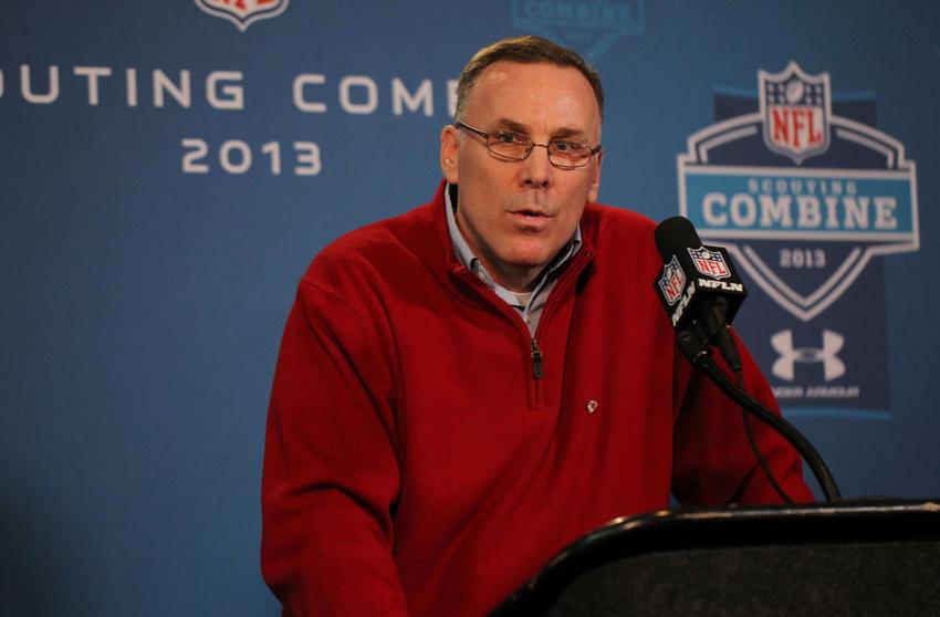 Feb 22, 2013; Indianapolis, IN, USA; Kansas City Chiefs general manager John Dorsey speaks at a press conference during the 2013 NFL Combine at Lucas Oil Stadium. Mandatory Credit: Brian Spurlock-USA TODAY Sports