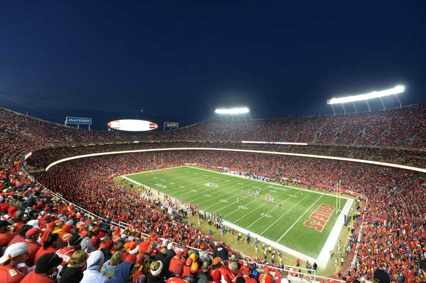 Dec 1, 2013; Kansas City, MO, USA; General view of the Arrowhead Stadium during the NFL game between the Denver Broncos and the Kansas City Chiefs. Mandatory Credit: Kirby Lee-USA TODAY Sports
