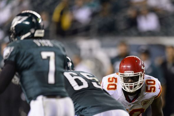 Sep 19, 2013; Philadelphia, PA, USA; Kansas City Chiefs linebacker Justin Houston (50) during the fourth quarter against the Philadelphia Eagles at Lincoln Financial Field. The Chiefs defeated the Eagles 26-16. Howard Smith-USA TODAY Sports
