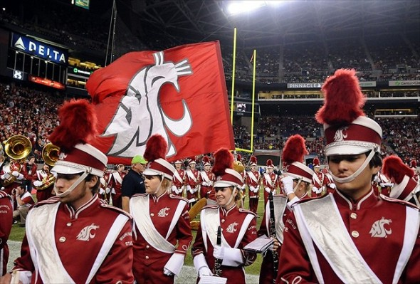 Sept. 29, 2012; Seattle, WA, USA; Washington State Cougars mascot Butch brings out the flag before a game against the Oregon Ducks during the first half at CenturyLink Field. Mandatory Credit: James Snook-USA TODAY Sports