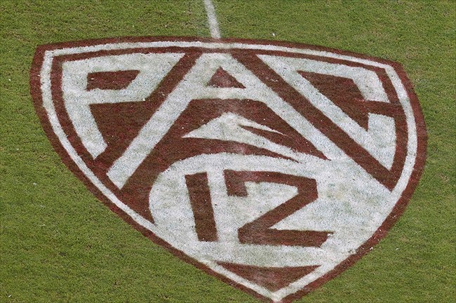 Nov 19, 2011; Stanford CA, USA; Detailed view of the Pac-12 logo on painted on the field before the game between the Stanford Cardinal and the California Golden Bears at Stanford Stadium. Stanford defeated California 31-28. Mandatory Credit: Jason O. Watson-USA TODAY Sports