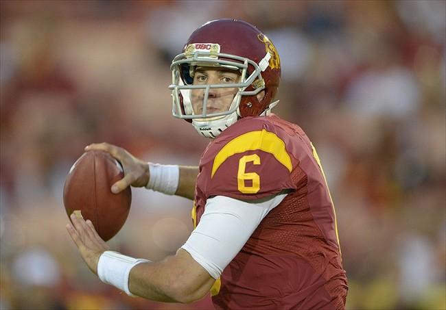 Oct 20, 2012; Los Angeles, CA, USA; Southern California Trojans quarterback Cody Kessler (6) throws a pass against the Colorado Buffaloes at the Los Angeles Memorial Coliseum. USC defeated Colorado 50-6. Mandatory Credit: Kirby Lee/Image of Sport-USA TODAY Sports